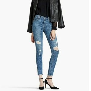 Lucky Brand High Rise Frayed Ankle Skinny Jeans